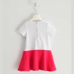 vestido niña de punto blanco y fresa ido