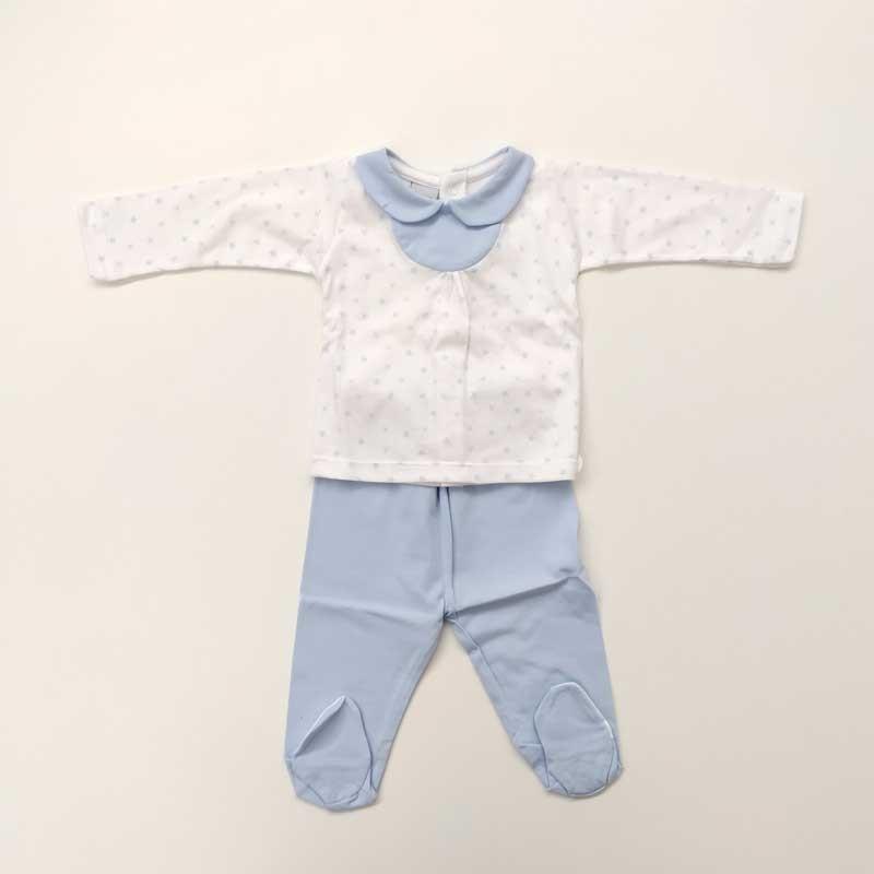 conjunto canesu bebe azul y blanco de babidu