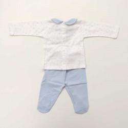 conjunto canesu bebe azul y blanco de babidu por detras