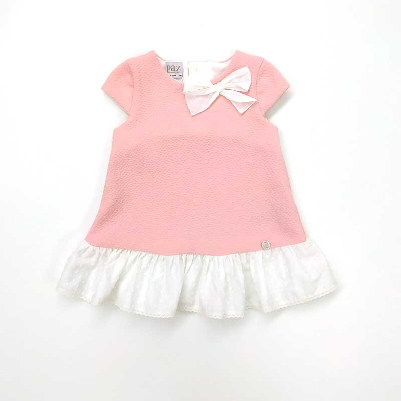 vestido bebe rosa y plumeti crudo de paz rodriguez