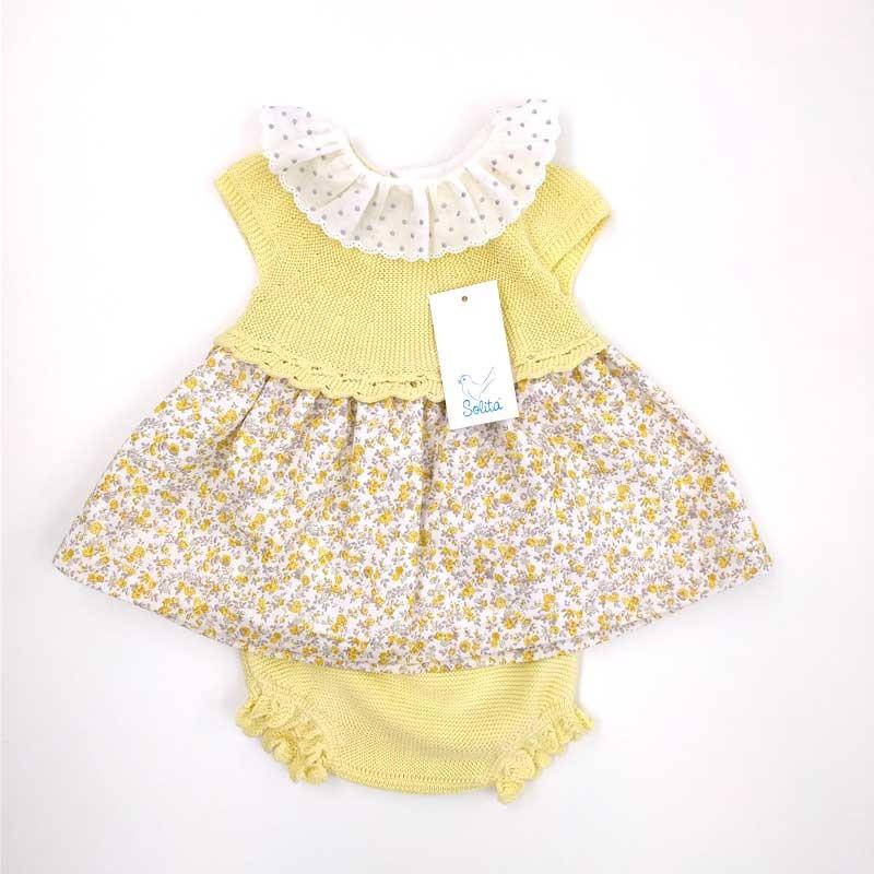 vestido bebe de solita amarillo con flores