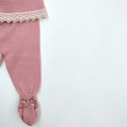 conjunto bebe de solita rosa con puntilla