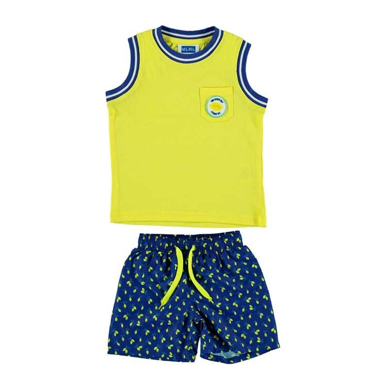 conjunto bañador niño amarillo estampado limones