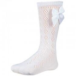 calcetín bebe calado blanco con lazo