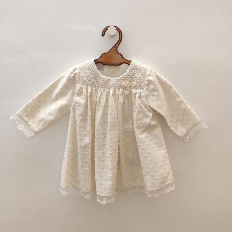 vestido bebe paz rodriguez de plumeti crudo