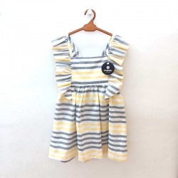 vestido niña a rayas amarillas y azules de nachete