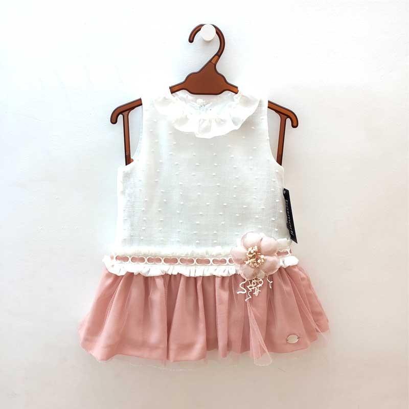 vestido niña de bas marti de ceremonia rosa y crudo
