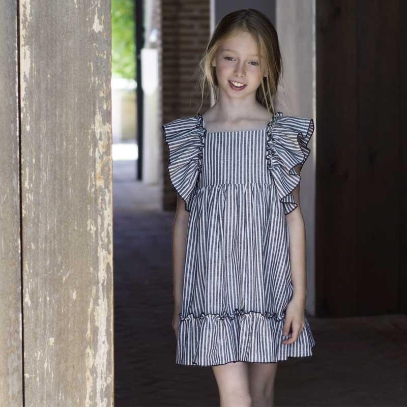 vestido niña eve children a rayas grises