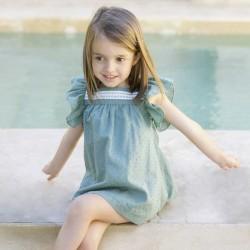 vestido niña de plumeti verde eve children