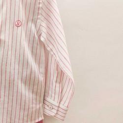 detalle camisa niño nachete rayas fresa y cuello mao