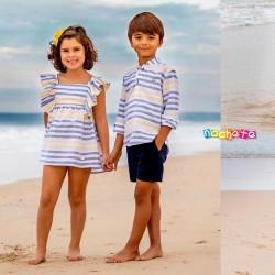 camisa niño nachete a rayas azules y amarillas