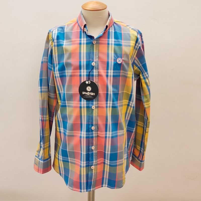 camisa niño nachete azul y cuadros coral y amarillo