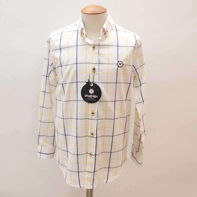 camisa niño nachete blanca con cuadro amarillo y azul