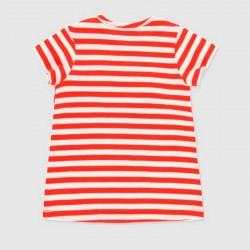 camiseta bebe niña a rayas rojas y blancas
