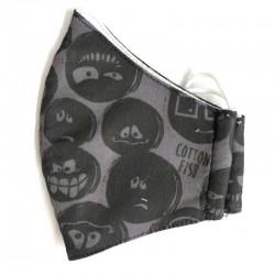 mascarilla niños gris estampado emoticonos de cotton fish