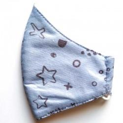 mascarilla niños azul celeste cotton fish