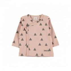 conjunto recién nacido petit oh rosa y gris triángulos