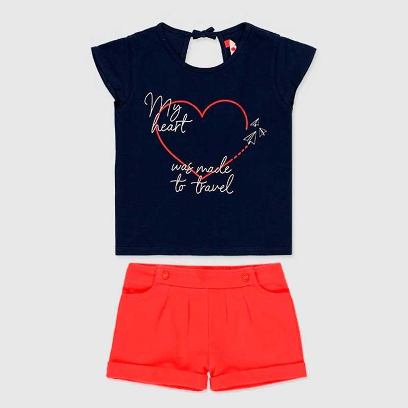 conjunto niña de verano marino y rojo boboli
