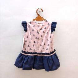 vestido bebe de bas marti rosa con anclas marino
