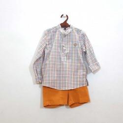 pantalon bermuda de niño mostaza