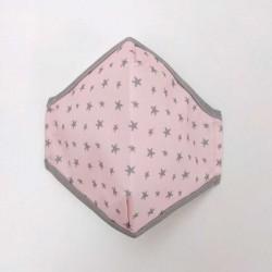mascarilla adulto y niñas rosa y estrellas cotton fish