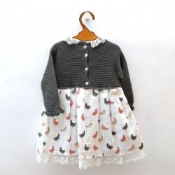 vestido bebe juliana de invierno estampado gallinas