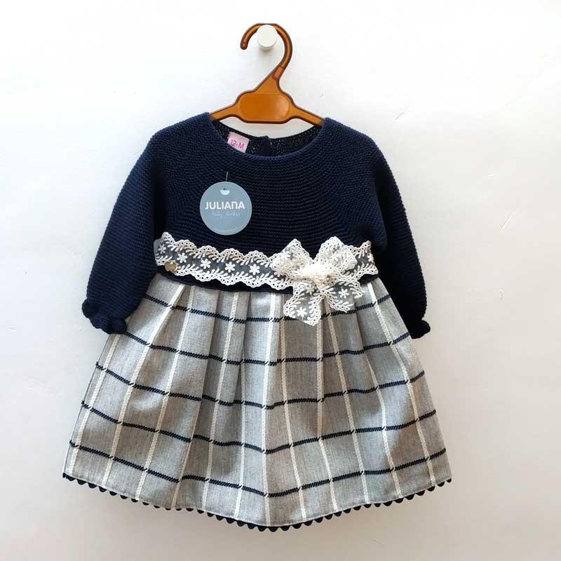 vestido bebé niña juliana marino y gris con puntilla