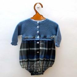 pelele bebe de invierno azul y gris de juliana