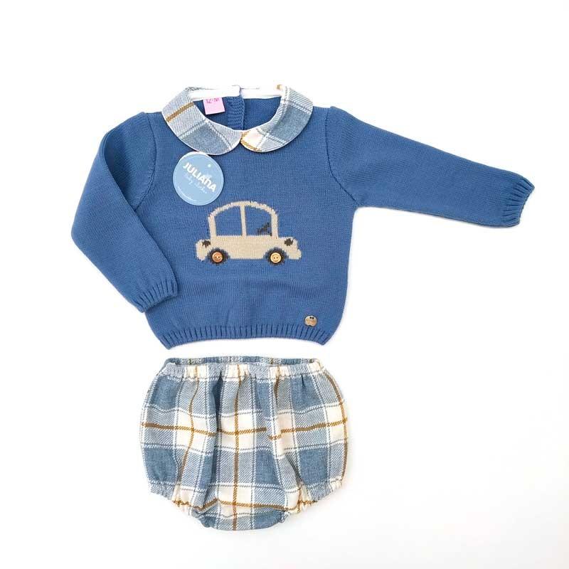 conjunto bebe jersey y cubre azul  de juliana