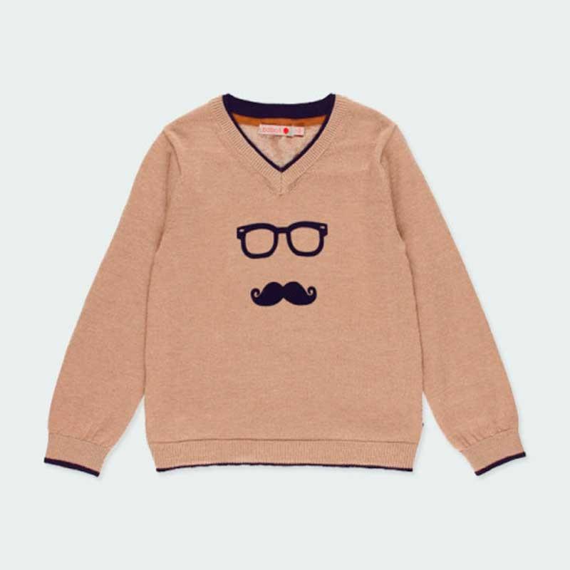 jersey niño marrón de cuello pico y coderas