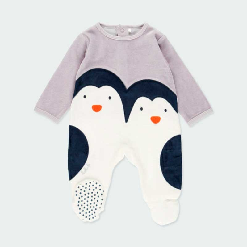 pelele bebé terciopelo pinguino de boboli
