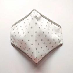 mascarilla homologada blanca estrellas grises