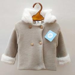 chaquetón bebé sardon de punto tricot color piedra