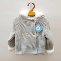 abrigo bebé de punto tricot gris de sardon