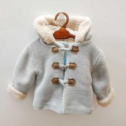 chaqueta punto bebé gris con borreguito sardon