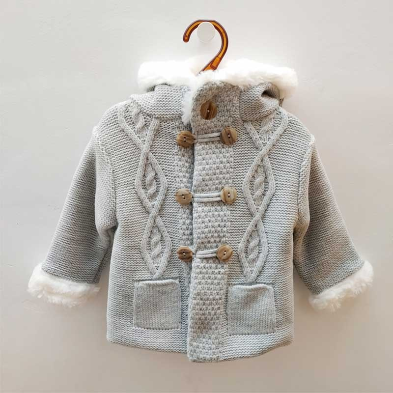 chaqueta punto de bebé gris sardon