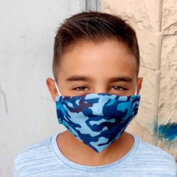 mascarilla niño homologada de camuflaje azul