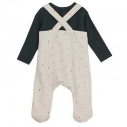 peto bebe beige y camiseta manga larga gris baby clic