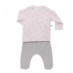 conjunto recién nacido baby clic rosa y gris