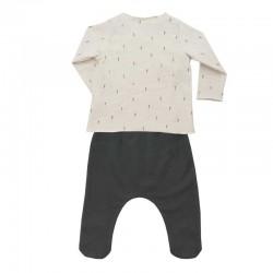 conjunto recién nacido baby clic beige y gris de manga larga