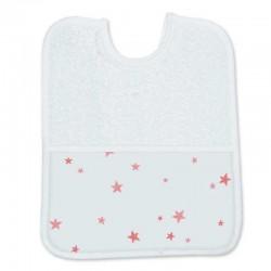 babero bebe de rizo blanco con estampado estrellas coral