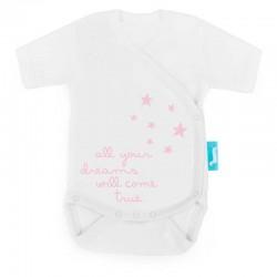 body cruzado manga corta bebe  estrellas coral