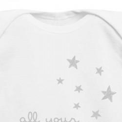 body americano de bebe blanco y estrellas grises