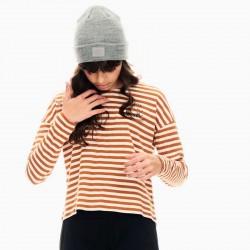 sudadera niña garcia jeans a rayas marrones