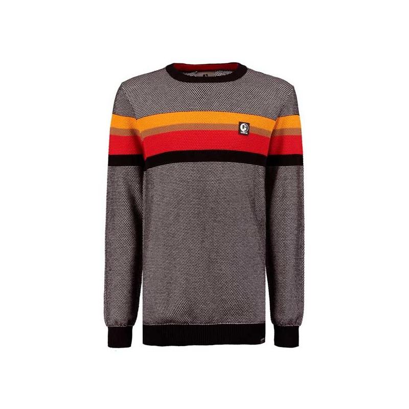 jersey niño de punto gris con rayas colores