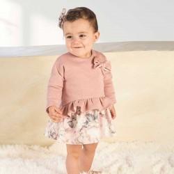 vestido bebe niña rosa y estampado flores bas marti