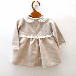 vestido bebe paz rodriguez de invierno gris y beige
