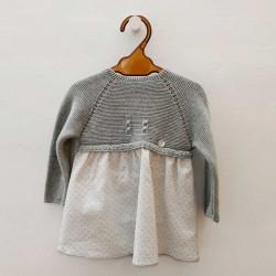 vestido bebe de punto y tela gris de invierno