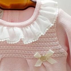 vestido bebe punto rosa de invierno paz rodriguez