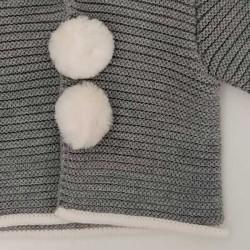 abrigo de punto bebe gris paz rodriguez